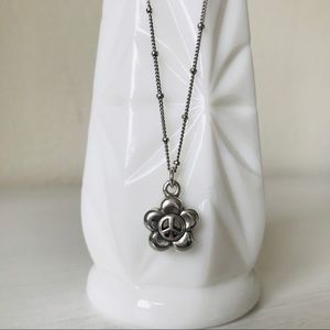 Brighton Peace Sign Flower Necklace Silver